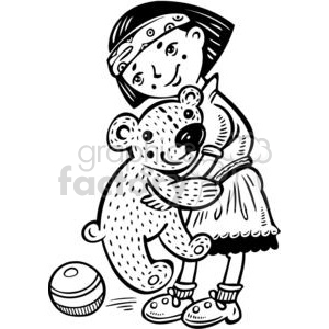 girl holding her big teddy bear clipart. Commercial use image # 381585