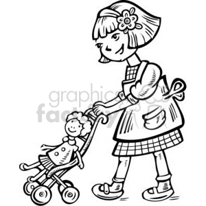 girl pushing her doll in a stroller clipart. Commercial use image # 381590