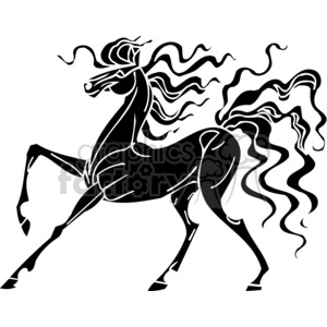 creative horse design with crazy hair clipart. Commercial use image # 383672