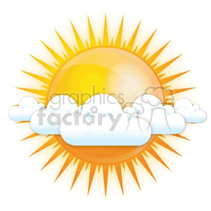 vector sun partly cloudy clipart. Commercial use image # 383906