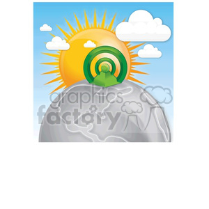 pyramid-with-large-sun-behind clipart. Commercial use image # 383936