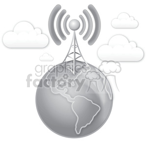 cell tower earth clouds gray scale