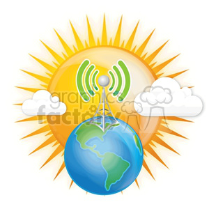 mobile wireless digital data RG cell phone tower signal cloud clouds world Sun Earth planets globe global antenna communication
