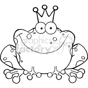 102511-Cartoon-Clipart-Frog-Prince-Cartoon-Character clipart. Commercial use image # 383971