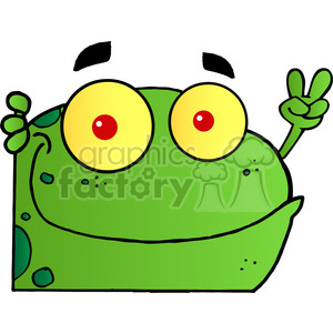 102498-Cartoon-Clipart-Frog-Gesturing-The-Peace-Sign-With-His-Hand