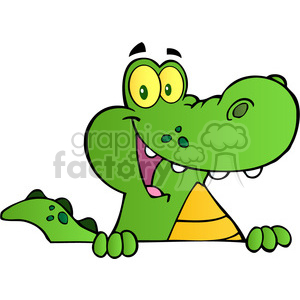102533-Cartoon-Clipart-Aligator-Or-Crocodile-Over-A-Sign clipart. Royalty-free image # 383986