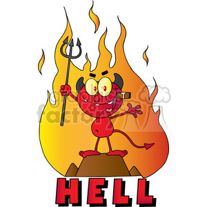 1931-Little-Red-Devil-Holding-Up-A-Pitchfork-And-Smoking-A-Cigar-In-Front-Of-Fire-And-Hell-Text clipart. Royalty-free image # 383991
