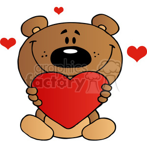 Teddy Bear Holding A Red Heart clipart. Commercial use image # 384001