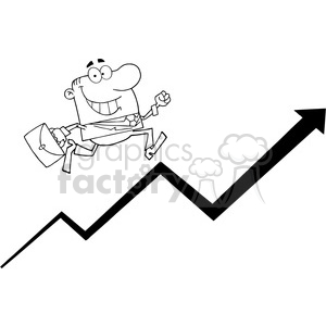 Businessman Running Upwards On A Statistics Arrow clipart. Commercial use image # 384006