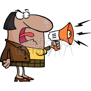 102568-Cartoon-Clipart-African-American-Business-Woman-Yelling-Through-A-Megaphone clipart. Royalty-free image # 384021