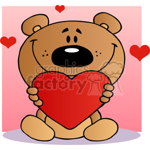 2489-Teddy-Bear-Holding-A-Red-Heart clipart. Royalty-free image # 384026