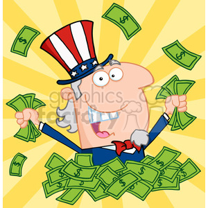 Uncle Sam in a pile of cash clipart. Royalty-free image # 384031