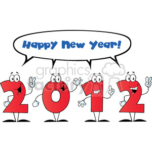 2098-2012-New-Year-Numbers-Cartoon-Characters-With-Speech-Bubble-And-Text clipart. Commercial use image # 384036