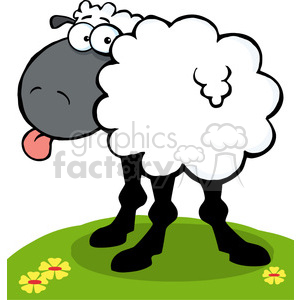 102672-Cartoon-Clipart-Funky-Black-Sheep-Sticking-Out-His-Tongue clipart. Commercial use image # 384046