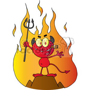 1928-Little-Red-Devil-Holding-Up-A-Pitchfork-And-Smoking-A-Cigar-In-Front-Of-Fire clipart. Commercial use image # 384056