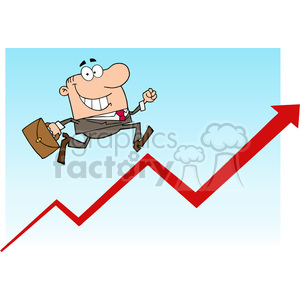 1809-Businessman-Running-Upwards-On-A-Statistics-Arrow clipart. Royalty-free image # 384071