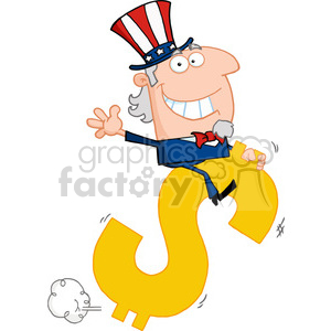 102519-Cartoon-Clipart-Uncle-Sam-Riding-On-A-Dollar-Symbol clipart. Royalty-free image # 384076