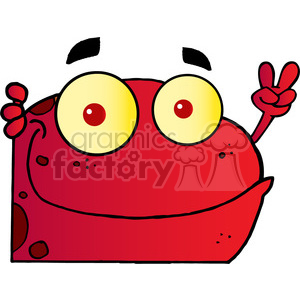 102499-Cartoon-Clipart-Red-Frog-Gesturing-The-Peace-Sign-With-His-Hand clipart. Royalty-free image # 384081