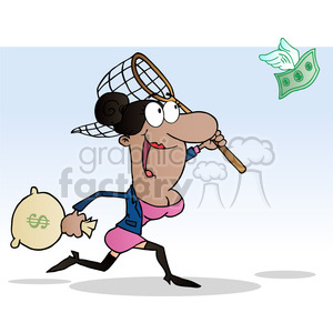1817-Happy-African-American-Businesswoman-Chasing-Money clipart. Royalty-free image # 384086