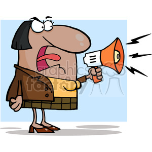 102569-Cartoon-Clipart-African-American-Business-Woman-Yelling-Through-A-Megaphone clipart. Royalty-free image # 384091