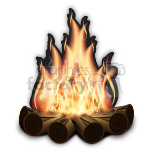realistic RG vector clipart flaming fire flames hot burning burn campfire camping camp scouts scouting boy bonfire