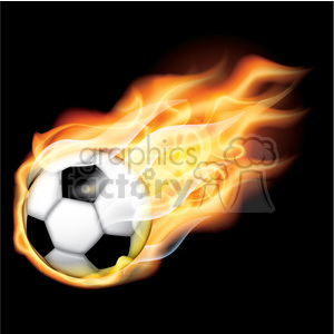 flaming vector soccer ball on black