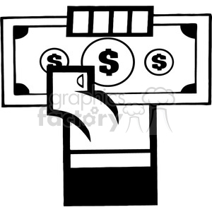 black-white-hand-holding-money clipart. Royalty-free image # 384186