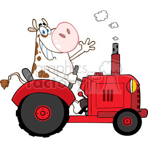 cartoon-cow-driving-a-tractor clipart. Royalty-free image # 384236
