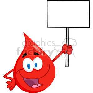 cartoon-blood-drop-holding-a-sign clipart. Royalty-free image # 384241