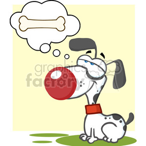 cartoon-dog-dreaming-of-a-bone clipart. Royalty-free image # 384246