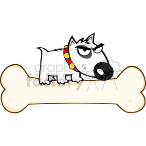 puppy-cartoon-on-large-bone clipart. Commercial use image # 384291