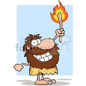 caveman-holding-fire clipart. Commercial use image # 384296