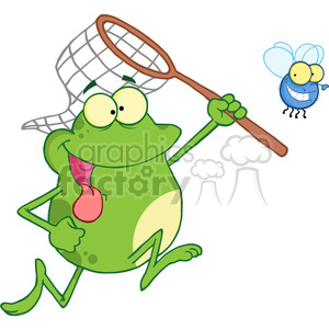 frog-chasing-fly-with-net clipart. Royalty-free image # 384304