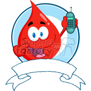 blood-drop-on-ribbon-with-phone clipart. Commercial use image # 384344