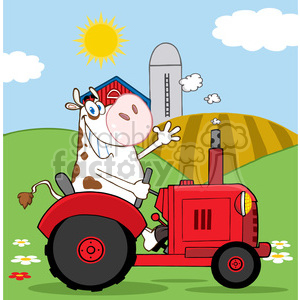 cartoon-cow-on-tractor clipart. Royalty-free image # 384349