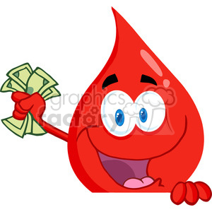 blood-drop-holding-money clipart. Commercial use image # 384364
