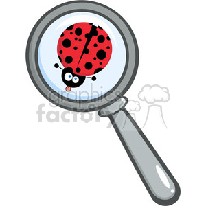 Royalty-Free-RF-Copyright-Safe-Magnifying-Glass-With-Ladybug-Sticking-Its-Tongue-Out clipart. Royalty-free image # 384379