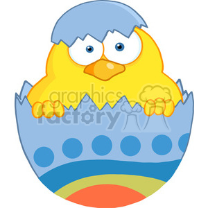 Royalty-Free-RF-Copyright-Safe-Surprise-Yellow-Chick-Peeking-Out-Of-An-Easter-Egg clipart. Commercial use image # 384389