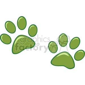Royalty-Free-RF-Copyright-Safe-Green-Paw-Prints clipart. Royalty-free image # 384394
