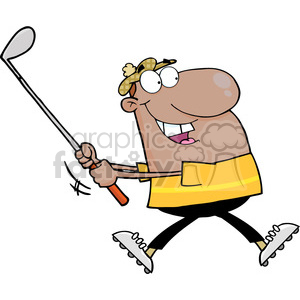 Royalty-Free-RF-Copyright-Safe-Happy-African-American-Golfer-Running clipart. Royalty-free image # 384414