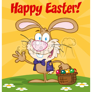 Royalty-Free-RF-Copyright-Safe-Happy-Easter-Text-Above-A-Waving-Bunny-With-Easter-Eggs-And-Basket clipart. Royalty-free image # 384419