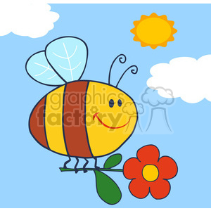 Royalty-Free-RF-Copyright-Safe-Happy-Bee-Fflying-With-Flower-In-Sky clipart. Royalty-free image # 384424
