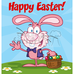 Royalty-Free-RF-Happy-Easter-Text-Above-A-Waving-Pink-Bunny-With-Easter-Eggs-And-Basket clipart. Commercial use image # 384429