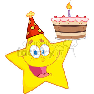4667-Royalty-Free-RF-Copyright-Safe-Happy-Star-Holding-A-Birthday-Cake clipart. Royalty-free image # 384444
