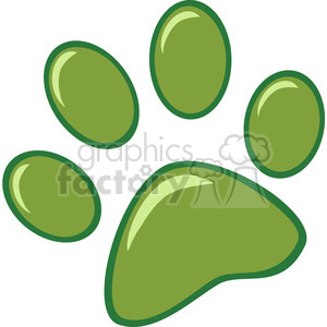 Royalty-Free-RF-Copyright-Safe-Green-Paw-Print clipart. Commercial use image # 384454