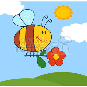 4717-Royalty-Free-RF-Copyright-Safe-Happy-Bee-Fflying-With-Flower-In-Sky clipart. Royalty-free image # 384484