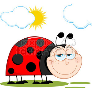 Royalty-Free-RF-Copyright-Safe-Happy-Ladybug-In-Garden clipart. Royalty-free image # 384494