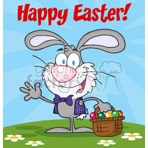Royalty-Free-RF-Happy-Easter-Text-Above-A-Waving-Gray-Bunny-With-Easter-Eggs-And-Basket clipart. Commercial use image # 384509