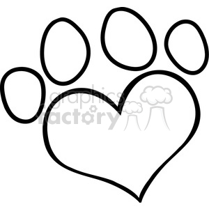 Royalty-Free-RF-Copyright-Safe-Love-Paw-Print clipart. Royalty-free image # 384514