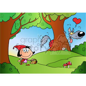 Royalty-Free-RF-Copyright-Safe-Bad-Wolf-Watching-Little-Red-Riding-Hood-From-Behind-A-Tree-In-A-Forest clipart. Royalty-free image # 384544